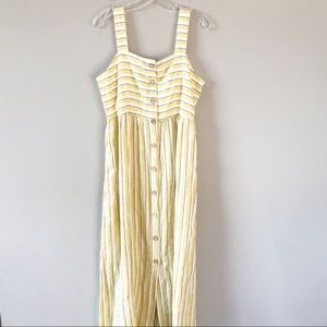 Rachel Zoe | Linen Yellow Striped Maxi Dress 8 NWT
